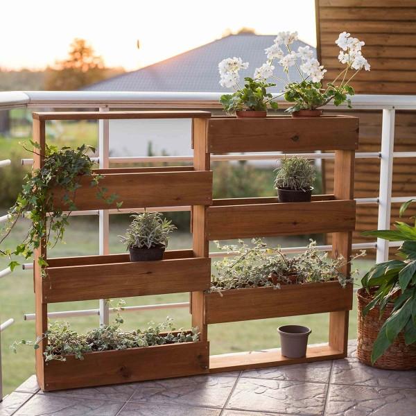 Etagère à plantes murale en bois 6 bacs