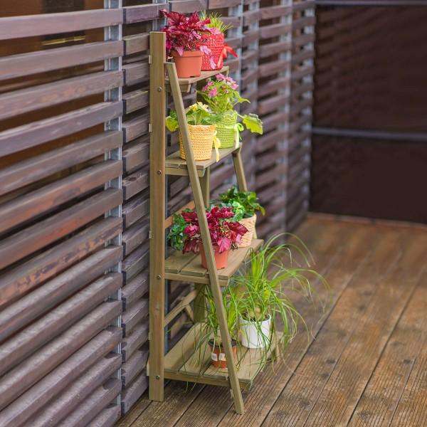 Étagère à plantes en bois grand modèle - Riga
