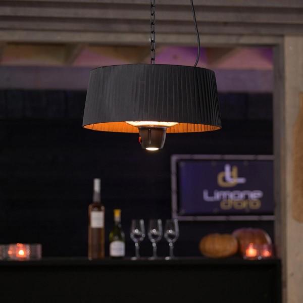 Suspension chauffante noire Artix 1500 W halogène avec LED - Sunred