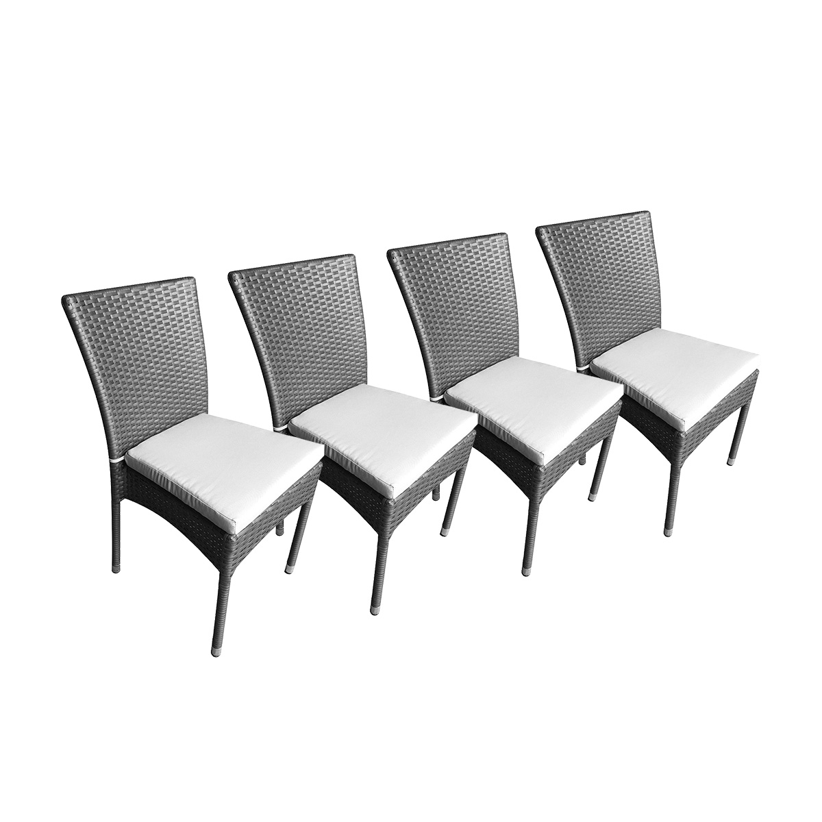 Lot de 4 chaises doha avec coussins gris